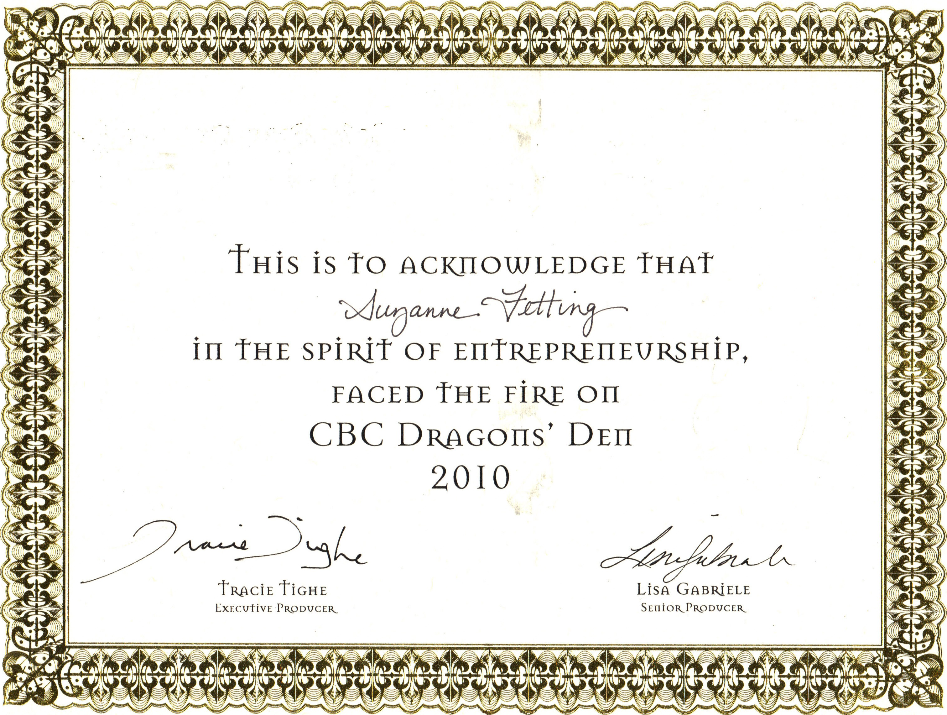 Dragons Den Certificate Absolute Confidence