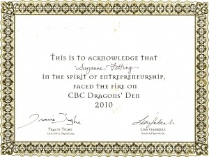 Dragons Den Certificate